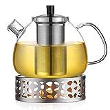 Teekanne mit Stövchen und Sieb